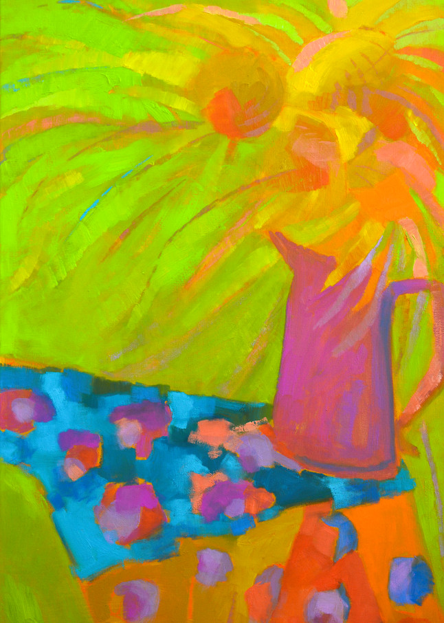 Abstract Sunflower Painting, Fine Art Print by Dorothy Fagan