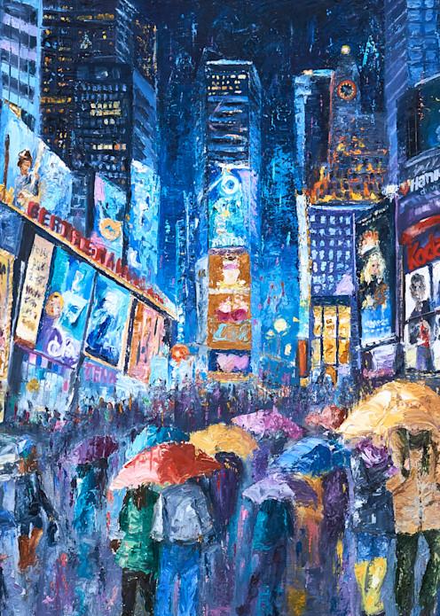 times-square, lovers, umbrella art