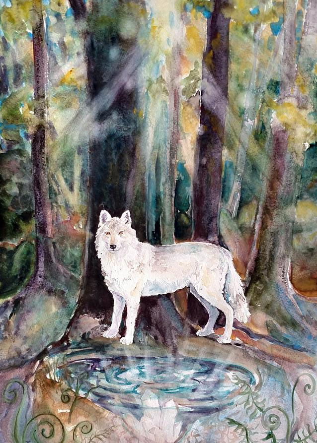 Guardian of Three Worlds Spirit Wolf Art Print