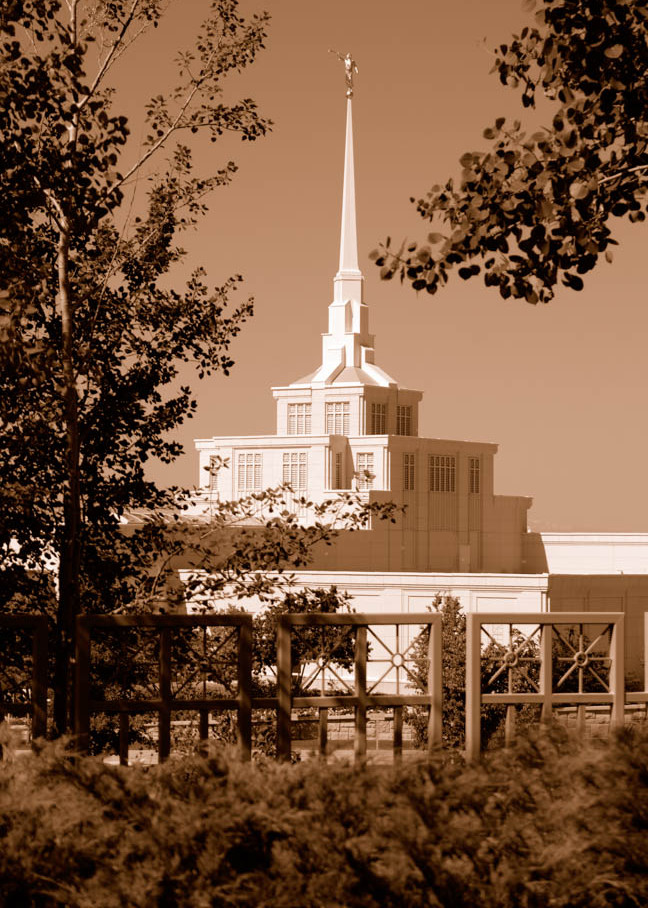 Billings Temple - By Day in Sepia