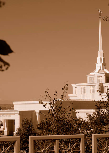 Billings Temple - Fence Foreground in Sepia
