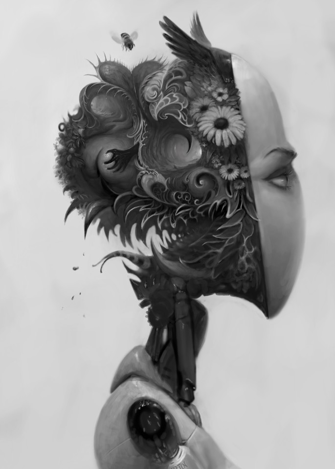 black and white sad robot thinking
