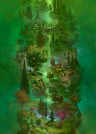 Burton Gray painting of a tall green tree of life - (thin).