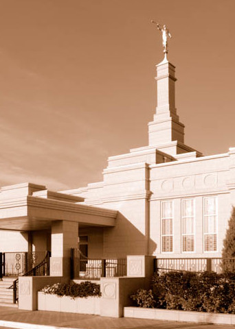 Edmonton Temple - Panoramic Sepia by Day