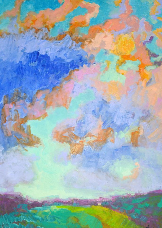 Dramatic Clouds Painting Fine Art Print, Breaking Through by Dorothy Fagan
