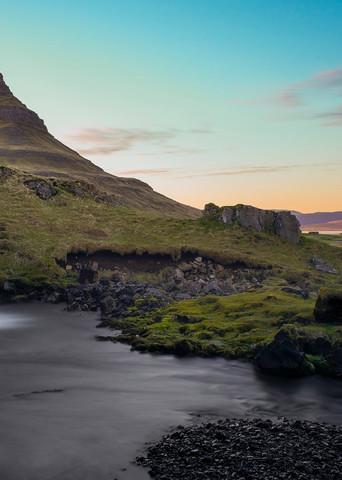 Sunset Falls - Kirkjufellsfoss Waterfall Kirkjufell Snaefellsness Peninsular Near Grundarfjordur Iceland | Limited Edition Sunset