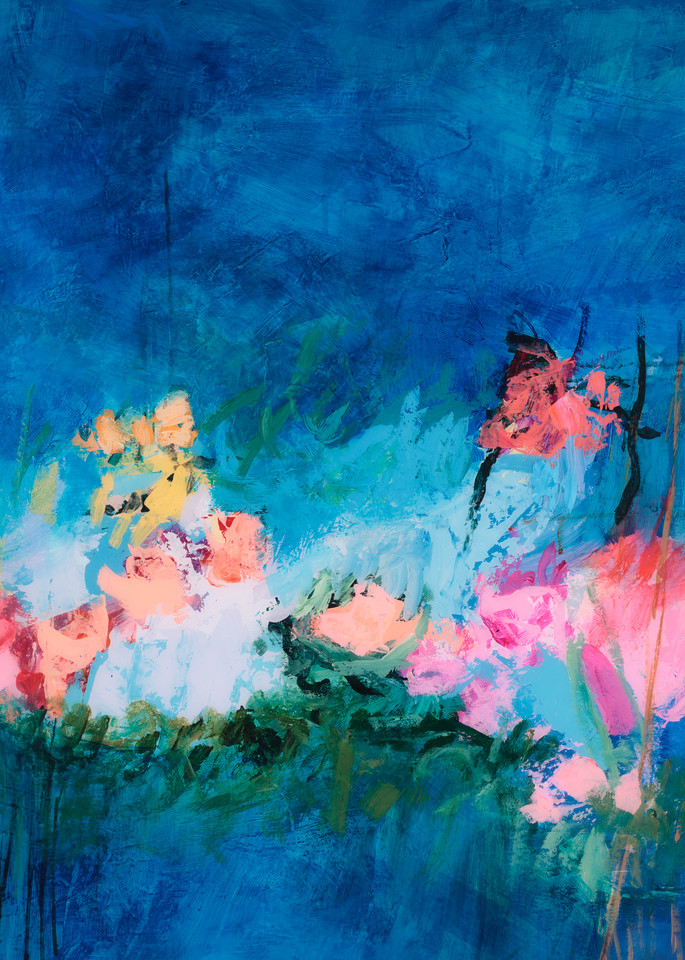 Deep Blue Floral Painting
