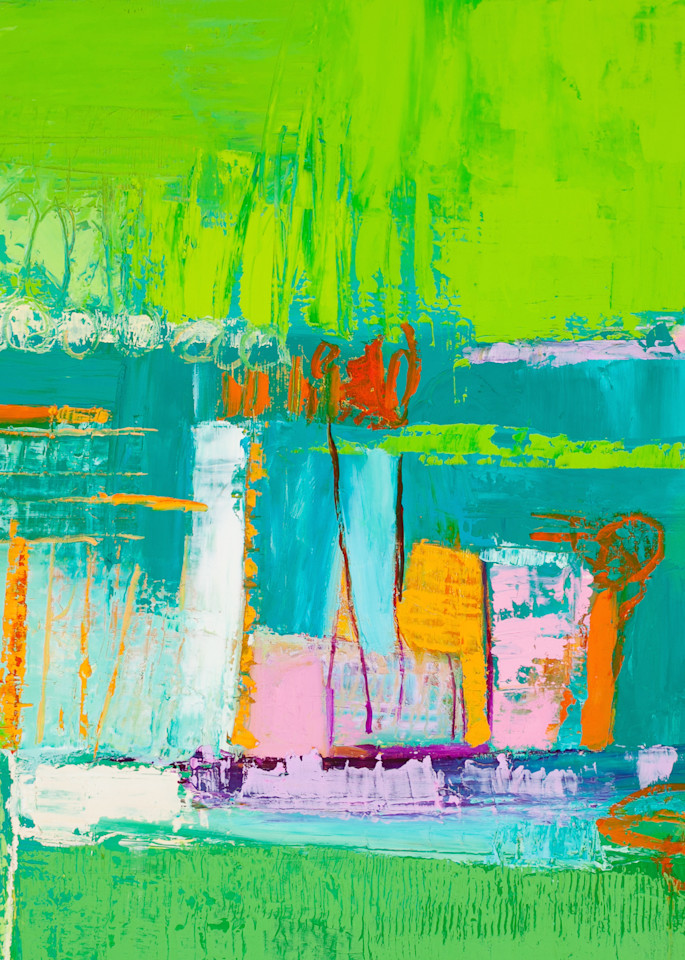 Bright Green Abstract Print