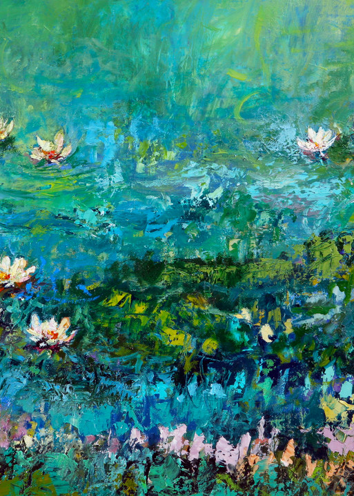 Pond painting showing light reflecting off the water with delicate water lilies on the surface.