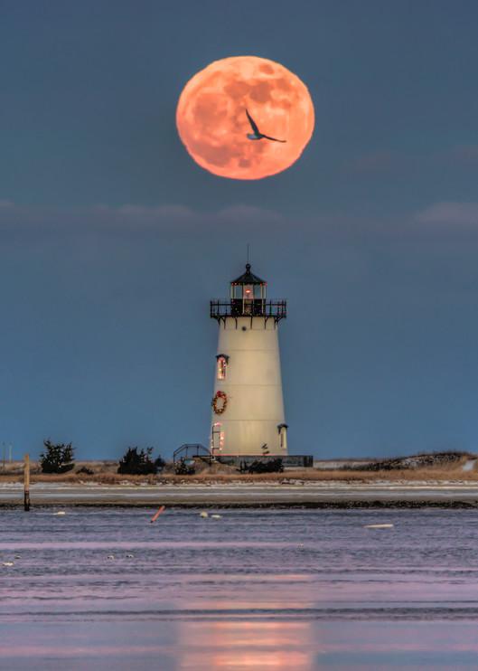 Edgartown Light Christmas Moon Art | Michael Blanchard Inspirational Photography - Crossroads Gallery