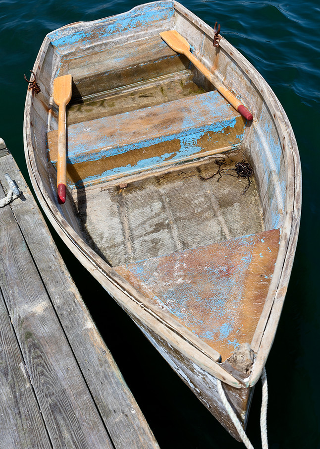 """""""Chatham Fish Pier Rowboat"""" Cape Cod Vertical Nautical Boat Photograph"""