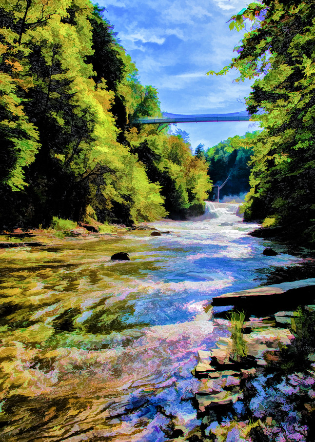 Archival Print of a Watercolor Bridge over a Lazy River