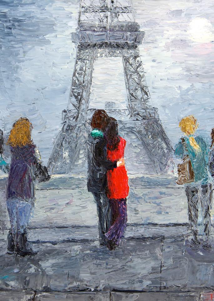 paris, eiffel-tower, lovers, moonlit-night, fine-art-print