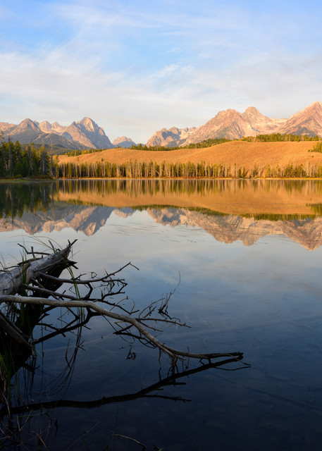 Little Redfish - Sawtooths Bathed In Morning Light in Central Idaho - Fine Art Prints on Metal, Canvas, Paper & More By Kevin Odette