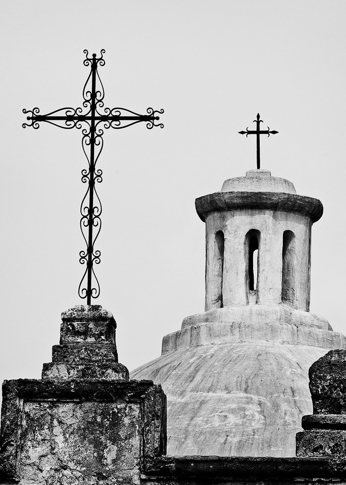 Crosses of Mission Concepcion photography print