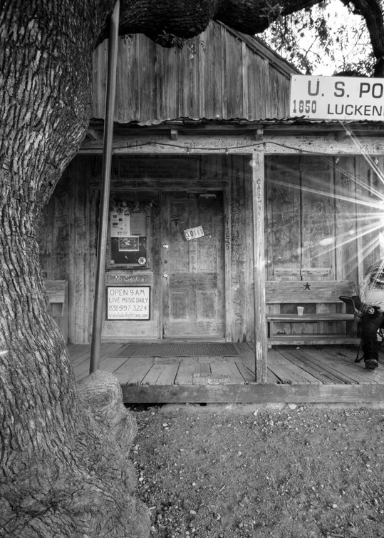 Luckenbach Texas post office in black and white photography print