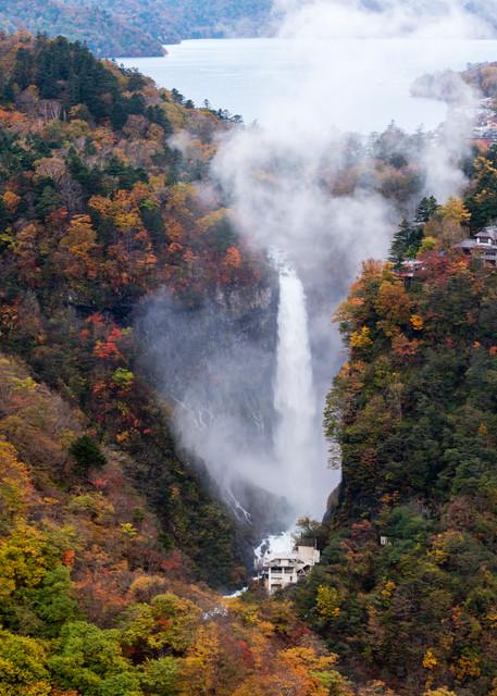 Fall colors Kegon-no-taki water falls in Nikko