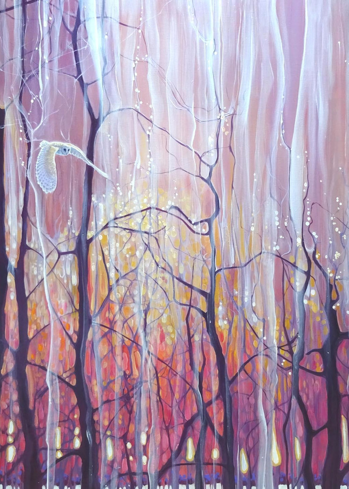 print of twilight grace with Sussex winter trees and a white barn owl at sunset