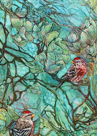 Aquamarine Labyrinth, Redpolls | Col Mitchell Contemporary Paper Artist