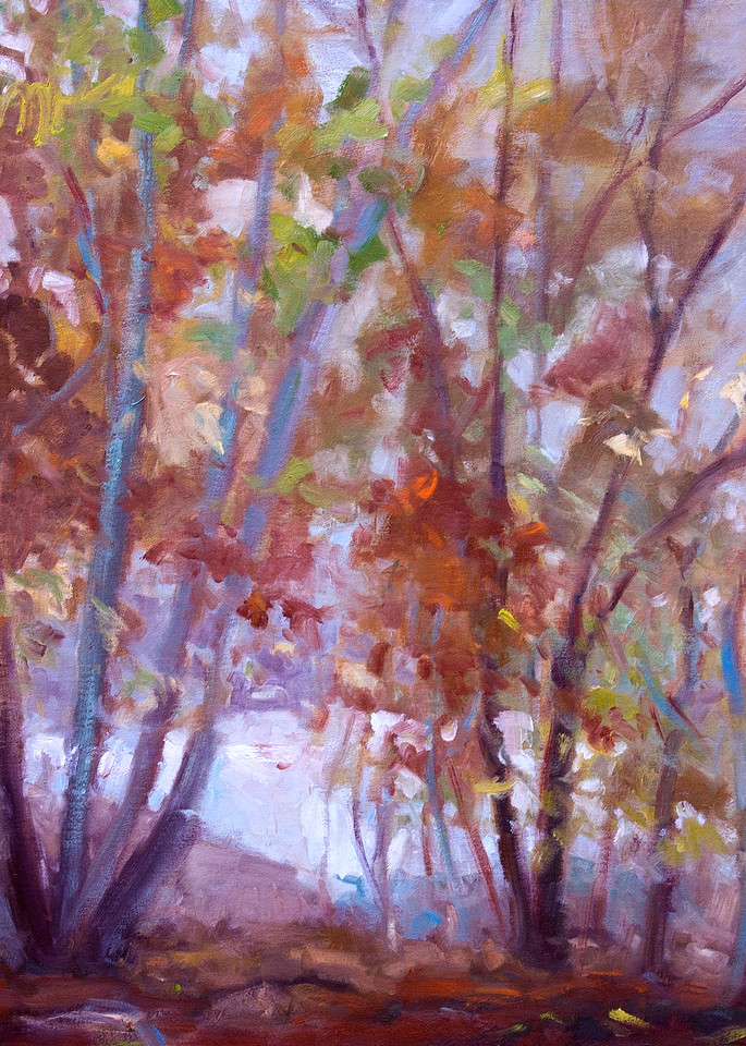 Large Abstract Autumn Trees Painting Art Print by Dorothy Fagan