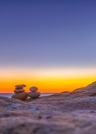 Moshup Beach Sunset Cairn Art   Michael Blanchard Inspirational Photography - Crossroads Gallery