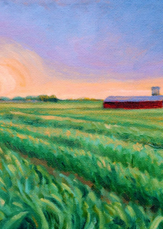 Sunset on Kempton farm fine art print by Hilary J England