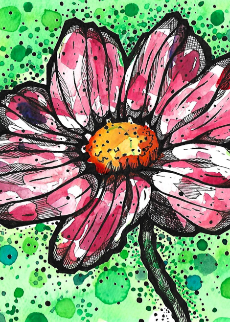 Matt Pierson Artworks | Bold Lined Flower with Green Circles and Dots