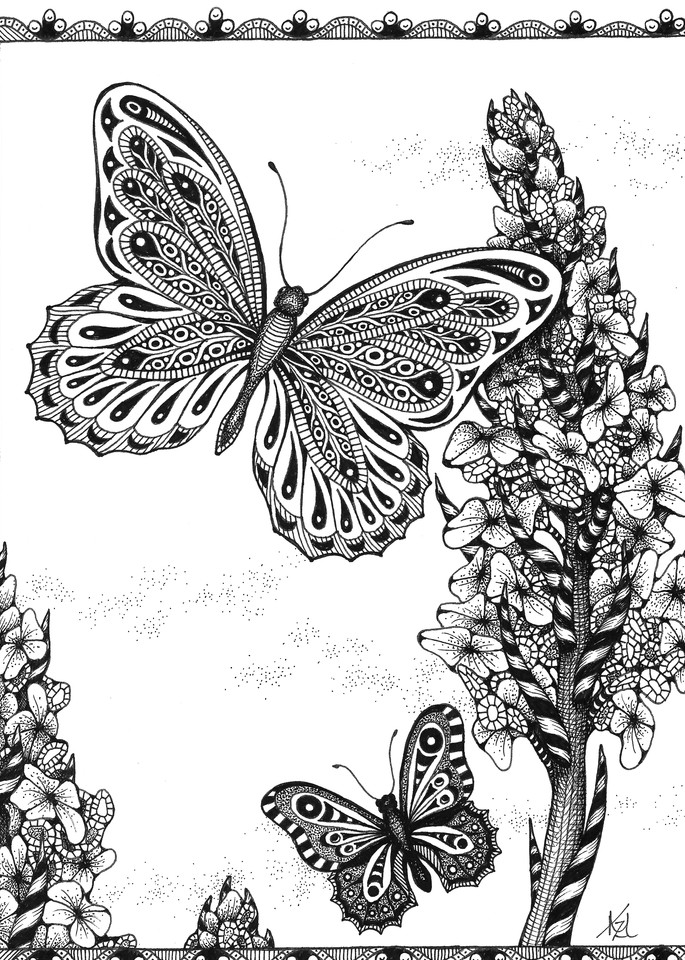 Butterflies and Hollyhocks