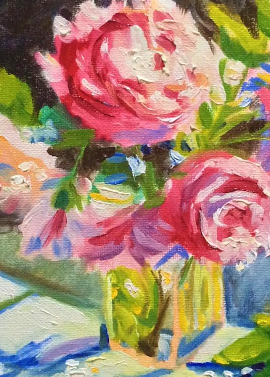 Pink Flowers and Blue Shadows Fine Art Print by Hilary J. England