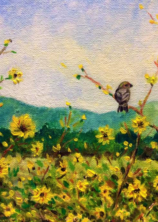 Chickadee in the Sunflowers Fine Art Print by Hilary J. England