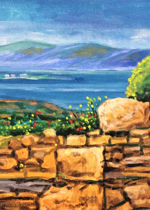 Athens view of ruins and ocean Fine Art Print by Hilary J. England