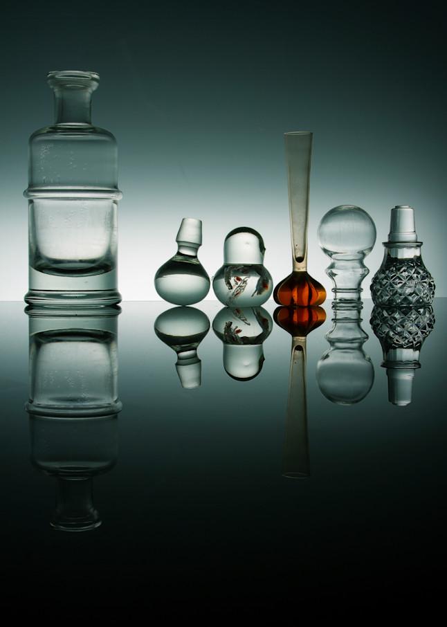 A Fine Art Photograph of Colorful Reflections on Black Plexi by Michael Pucciarelli