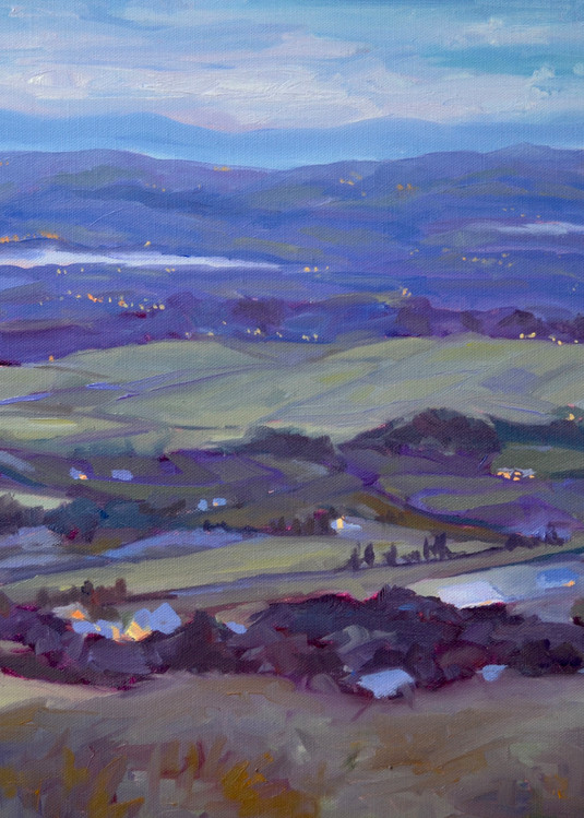 Solstice Evening by southern artist, Laura McRae Hitchcock, a museum quality fine art print, depicts the landscape of the Shannon River Estuary looking down from Cnoc an Oir, County Kerry, Ireland on the night of the summer solstice.