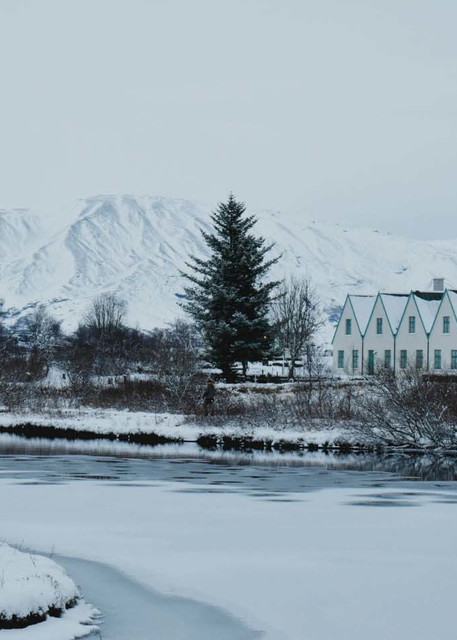 Houses in the Snow, Iceland