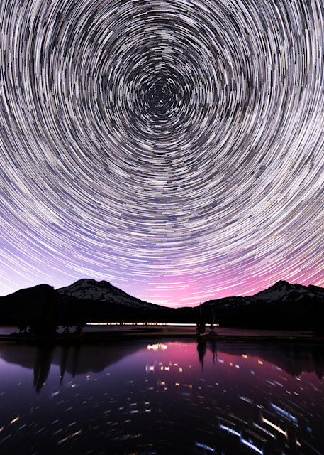 Star trails with northern lights at Sparks lake