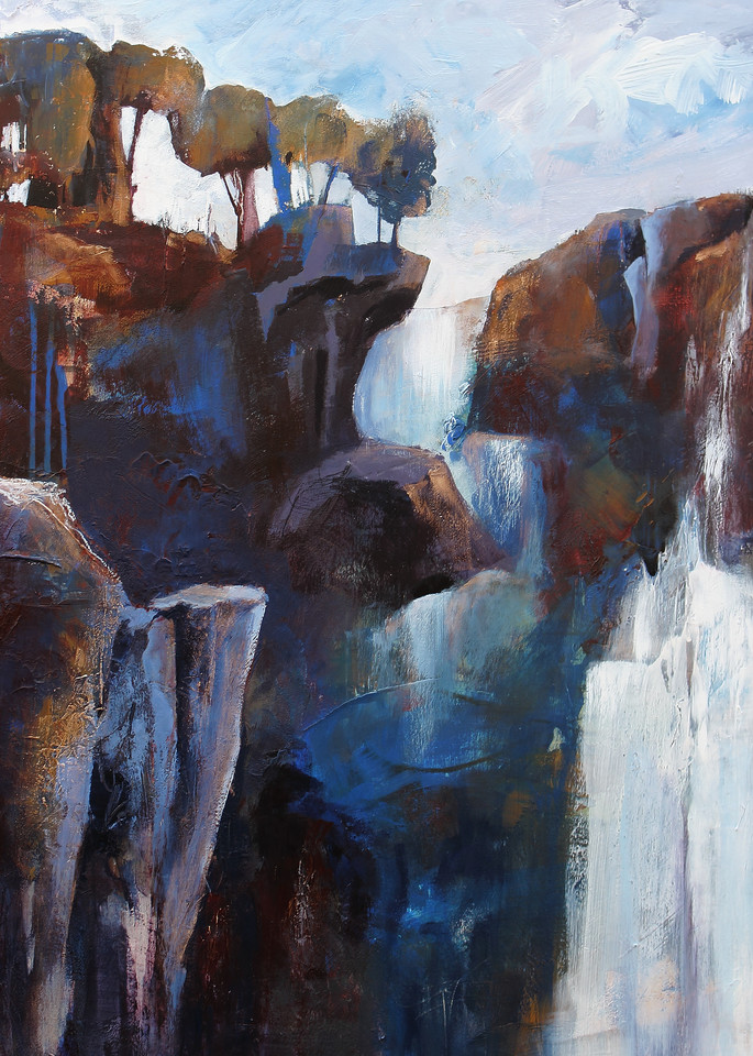 Unyielding Fortitude abstract landscape waterfall painting by Canadian artist Marianne Morris
