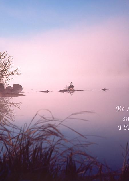 Foggy dawn, Chippewa River, with quote - shop prints   Closer Views
