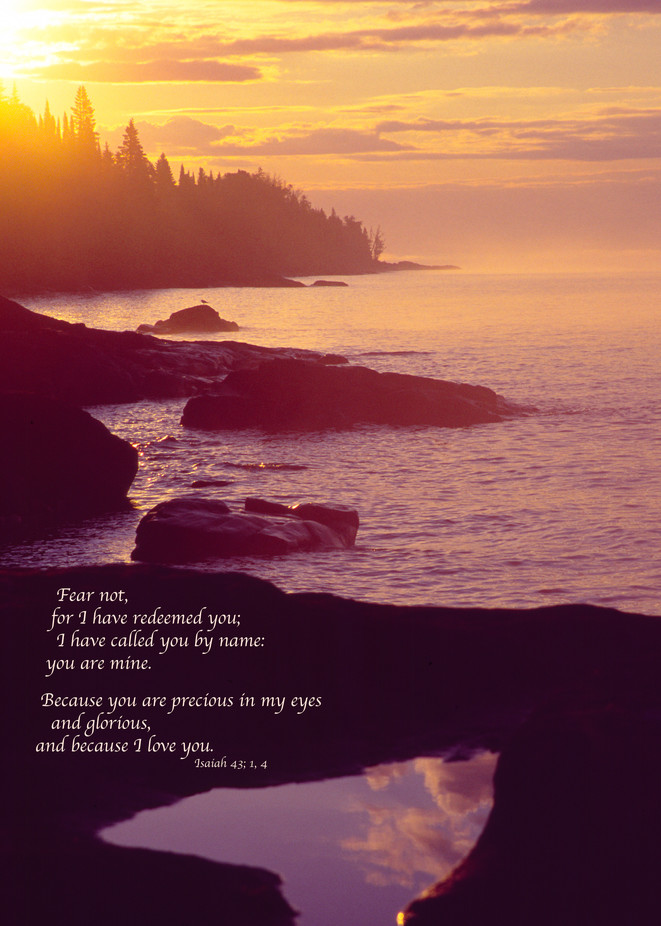 Lake Superior sunrise with quote from Isaiah - fine art photograph