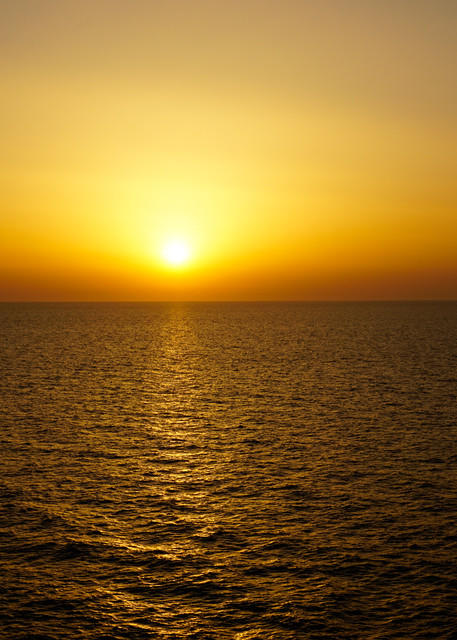 This photo was taken Out At Sea during a beautiful sunset.
