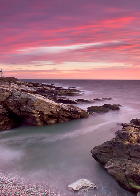 """""""Red Sky at Beavertail"""" Large Lighthouse Fine Art Photography Print"""