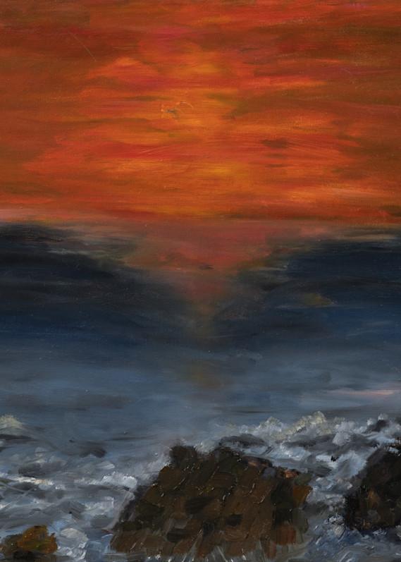 Sunset over wave crashing over rocks, print