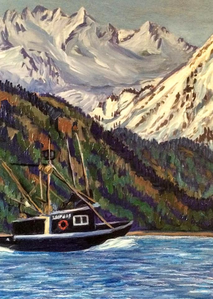 Kachemak Bay Boat Ride   Alaska Art Print Art | Amanda Faith Alaska Paintings / Estuary Arts, LLC