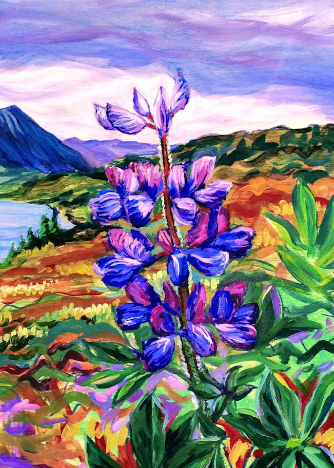 Lupine On Tundra Art | Amanda Faith Alaska Paintings / Estuary Arts, LLC