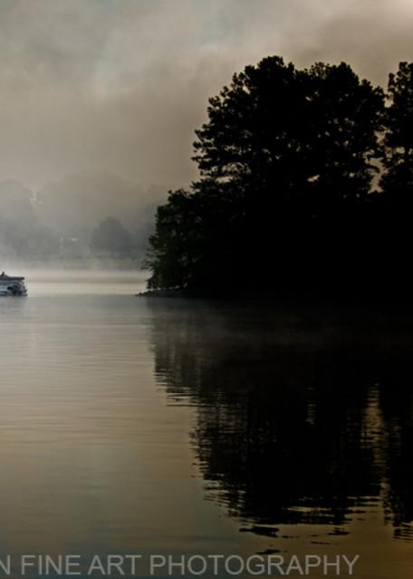 Foggy Sunrise with Boat at Ky Lake Barkley Photograph 8538 C SRGB    Kentucky Photography   Koral Martin Fine Art Photography