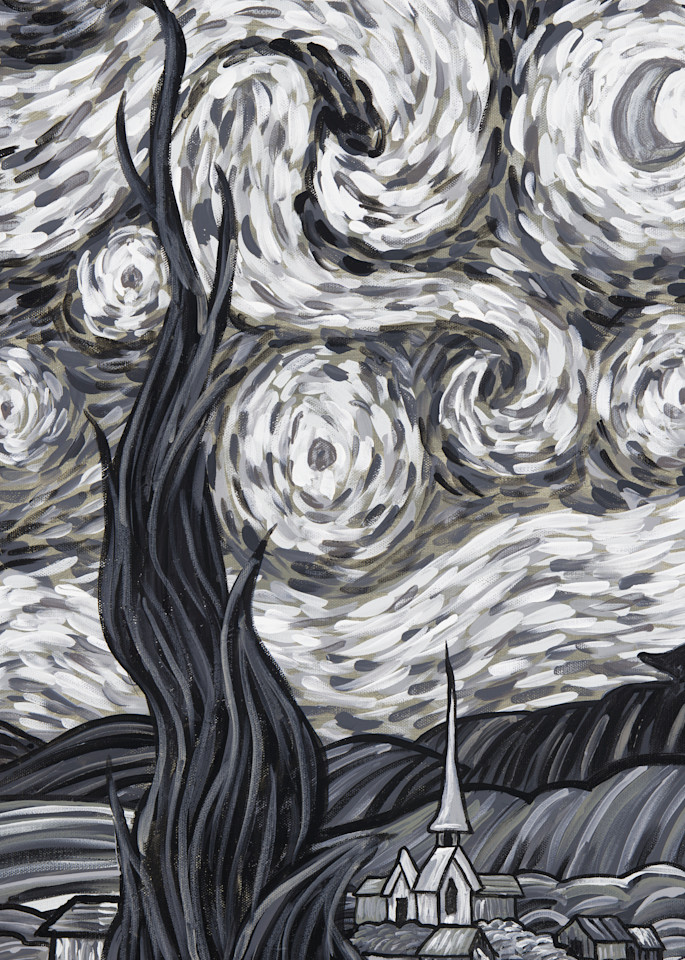 Starry Night In Black And White  Art | a.dawn art