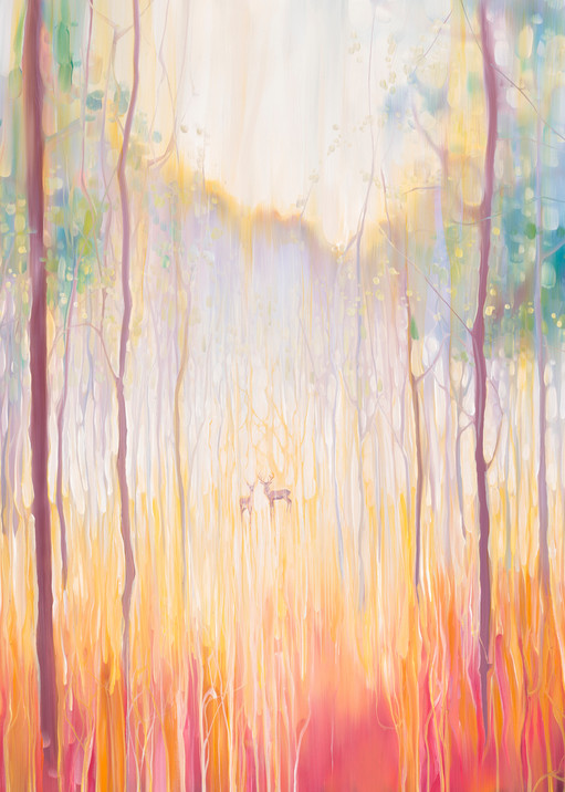 Print of Elusive-2 a deer in autumn forest landscape