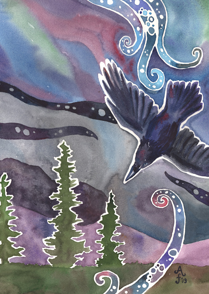 Aurora Raven   Alaska Art Print Art | Amanda Faith Alaska Paintings / Estuary Arts, LLC
