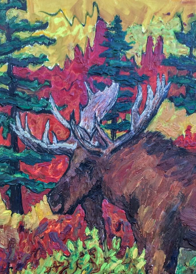 Alaska Bull Moose in Autumn, Red, Gold, Wildlife  - Art Print by Amanda Faith Thompson