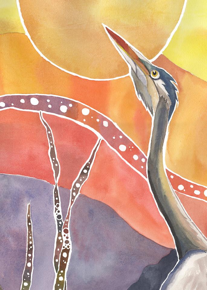 Heron's Vespers   Alaska Art Print Art | Amanda Faith Alaska Paintings / Estuary Arts, LLC