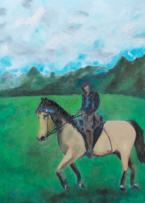 Woman riding her bushkin horse on a cloudy day fine print